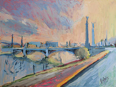 Painting - Sunset Pont Fragnee by Nop Briex