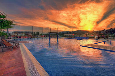 Photograph -  Sunset Pool by Nadia Sanowar