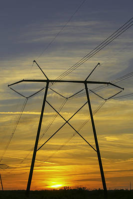 Photograph - Sunset Power Poles by Dart and Suze Humeston