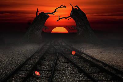 Digital Art - Sunset Railways by Mihaela Pater