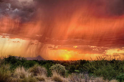 Photograph - Sunset Rain by Charlie Alolkoy