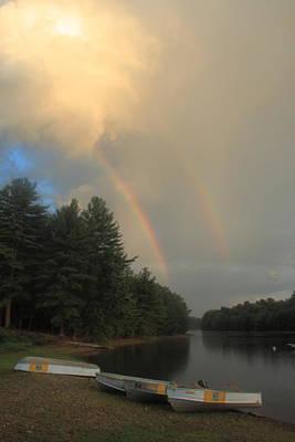 Photograph - Sunset Rainbows Over Fishing Boats by John Burk