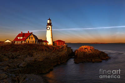 Photograph - Sunset Rays At Portland Headlight by Sharon Seaward