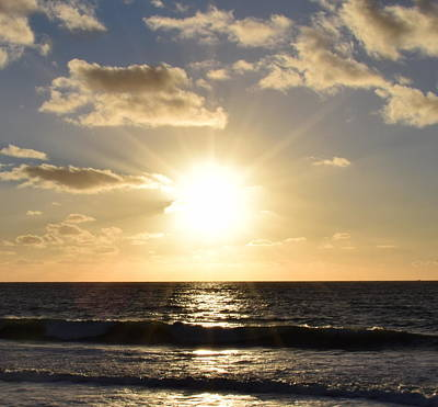 Photograph - Sunset Rays Over The Ocean by Karen J Shine