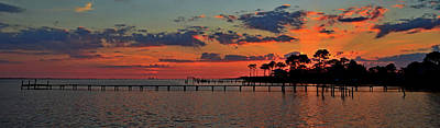 Photograph - Sunset Rays On Santa Rosa Sound Panoramic by Jeff at JSJ Photography