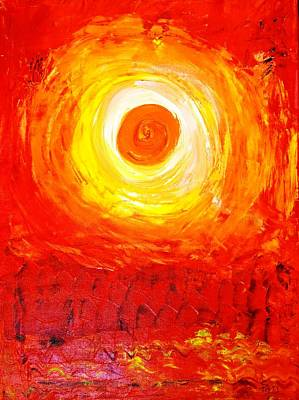 Art Print featuring the painting Sunset Red by Piety Dsilva