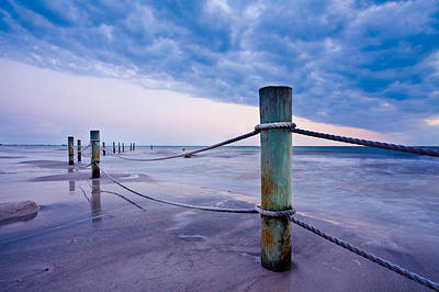 Sunset Reef Pilings Art Print by Adam Pender