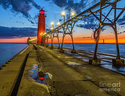 Photograph - Sunset Reflection At Grand Haven by Nick Zelinsky