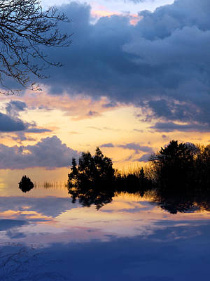Photograph - Sunset Reflection At The Lake by Gill Billington