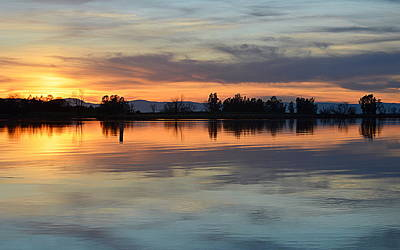 Art Print featuring the photograph Sunset Reflections by AJ Schibig