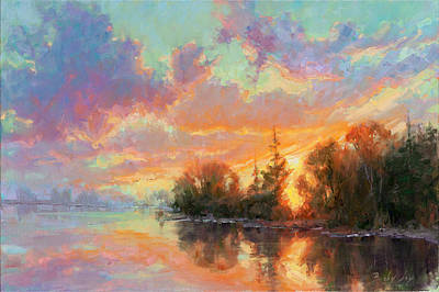 Becky Painting - Sunset Reflections by Becky Joy