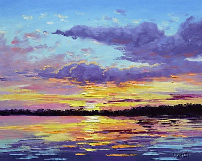 Paintings - Sunset reflections by Graham Gercken