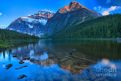 Photograph - Sunset Reflections In Cavell Lake by Adam Jewell