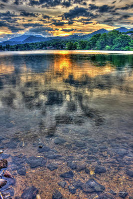 Sunset Reflections Lake Junaluska Sunset Blue Ridge Mountains North Carolina Art Print by Reid Callaway