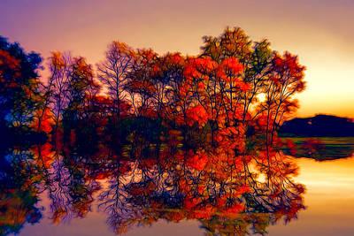 Landscape Digital Art - Sunset Reflections by Lilia D