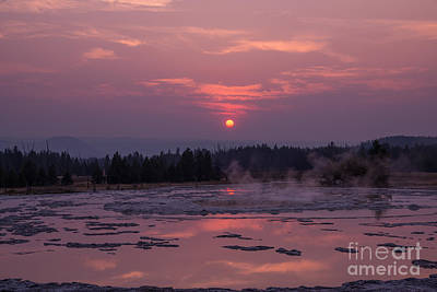 Sunset Reflections On The Great Fountain Geyser Art Print by Michael Ver Sprill