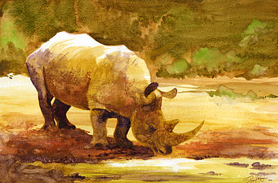 Africa Wall Art - Painting - Sunset Rhino by Brian Kesinger