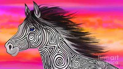 Art Print featuring the painting Sunset Ride Tribal Horse by Nick Gustafson