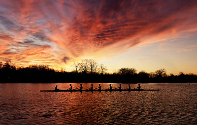 Percy Priest Lake Photograph - Sunset Rowing by Steven Michael