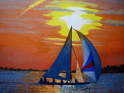Sailing At Night Painting - Sunset Sail by Ann Szeplaki