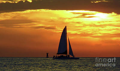 Sunset Sail Away Art Print