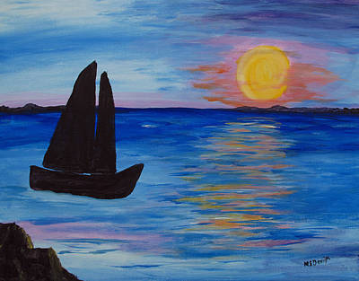 Painting - Sunset Sail Dark by Barbara McDevitt
