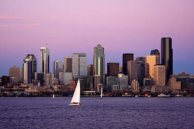 Seattle Skyline Photograph - Sunset Sail In Puget Sound by Adam Romanowicz