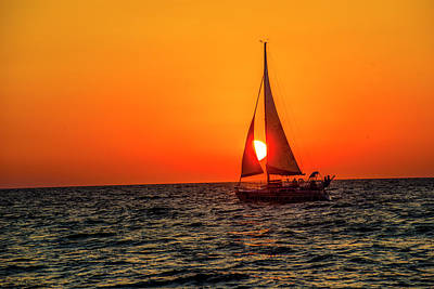 Photograph - Sunset Sail by Kevin Cable
