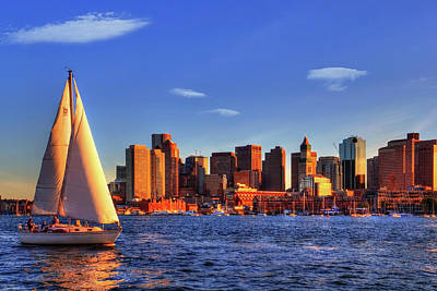 Sunset Sail On Boston Harbor Art Print