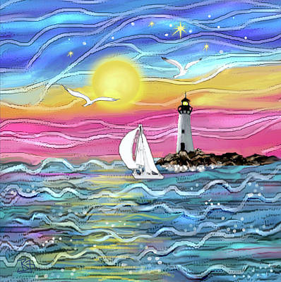 Digital Art - Sunset Sailboat by Jean Batzell Fitzgerald