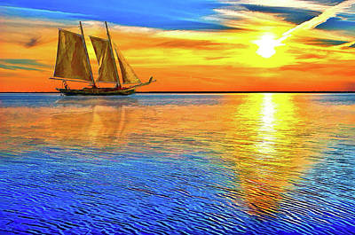 Painting - Sunset Sailboat Outer Banks Ap by Dan Carmichael