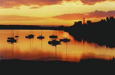 Glenmore Reservoir Photograph - Sunset Sailboats by Al Bourassa
