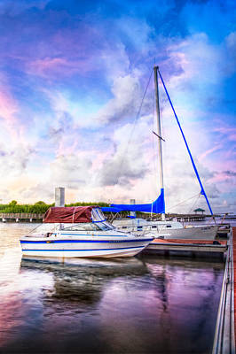Sunset Sailboats Art Print by Debra and Dave Vanderlaan