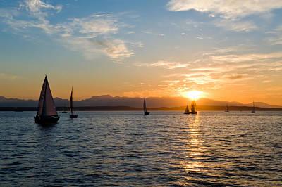Sunset Sailboats Art Print by Tom Dowd
