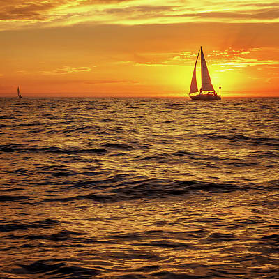 Sunset Sailing Art Print by Steve Spiliotopoulos