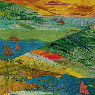 Mixed Media - Sunset Sails 3 by Paper Jewels By Julia Malakoff