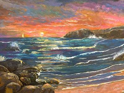Painting - Sunset Sails by Anne Sands