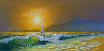 Steele Painting - Sunset Sails by Chris Steele