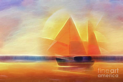 Sunset Digital Art - Sunset Sails by Lutz Baar