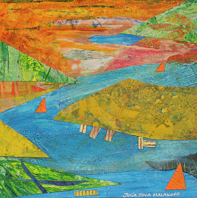 Mixed Media - Sunset Sails 1 by Paper Jewels By Julia Malakoff