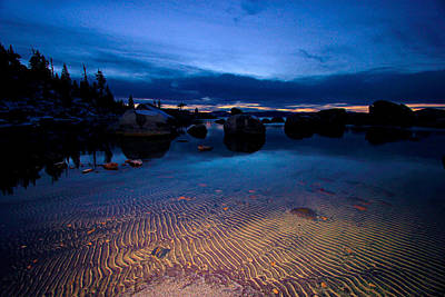 Sunset Sand Ripples Art Print by Sean Sarsfield