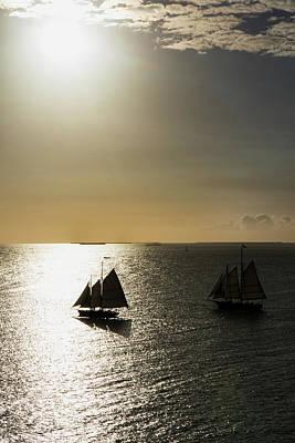 Photograph - Sunset Schooners by Arthur Dodd
