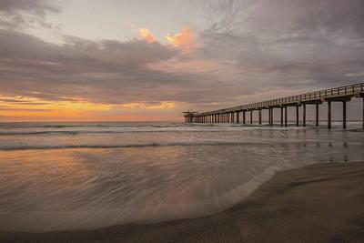 Sunset Scripps Beach Pier La Jolla San Diego Ca Image 4  Art Print by Bruce Pritchett