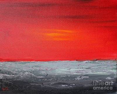 Painting - Sunset Sea 3 by Preethi Mathialagan
