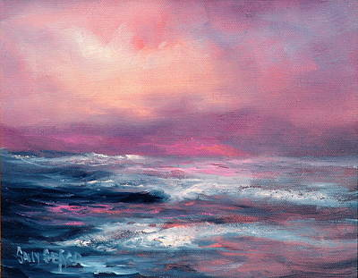 Sunset Sea Art Print by Sally Seago