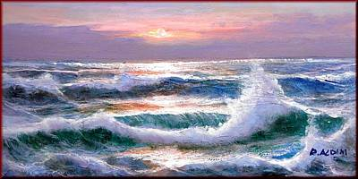Spanish Villa Painting - Sunset Sea Storm by Rino Aldini