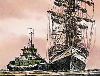 Sunset Ship Assist Art Print