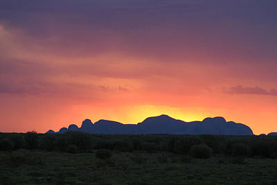 Photograph - Sunset Silhouette Of Kata Tjuta In The Northern Territory by Keiran Lusk