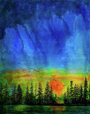 Mixed Media - Sunset Silhouette With Canada Geese by Peter V Quenter