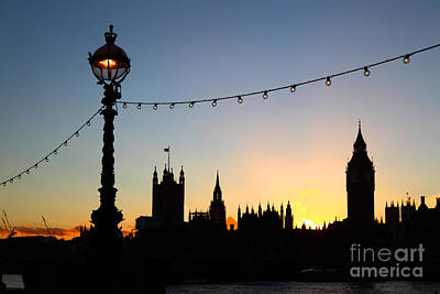 London Skyline Photograph - Sunset Silhouettes In London by James Brunker